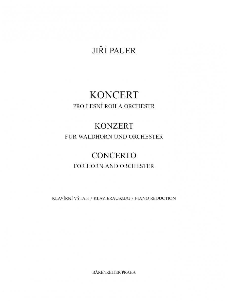 Concerto - Jiri Pauer - Partition - Cor - laflutedepan.com