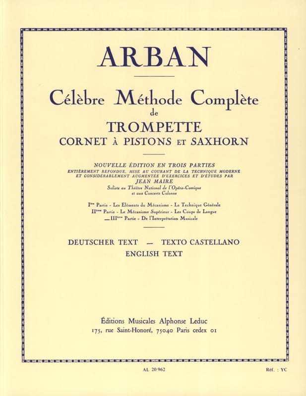 Jean-Baptiste Arban - Volume 3 Method - Partition - di-arezzo.co.uk