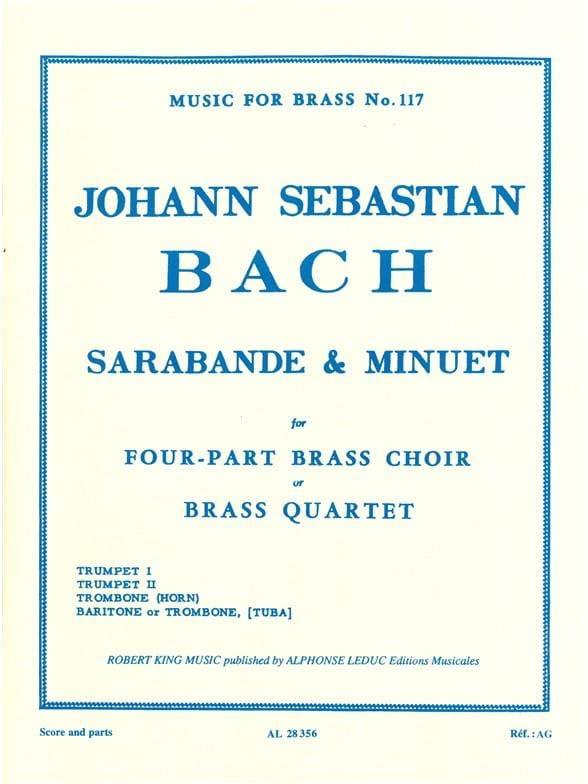 BACH - Sarabande - Minuet - Partition - di-arezzo.com