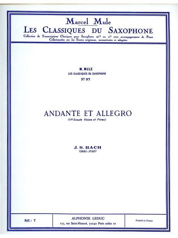 Andante et Allegro - BACH - Partition - Saxophone - laflutedepan.com