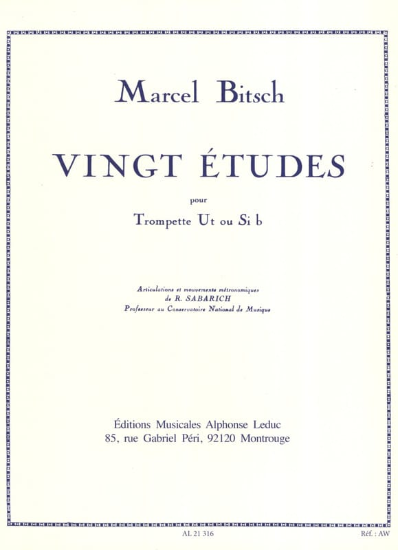 Marcel Bitsch - 20 Studies - Partition - di-arezzo.co.uk