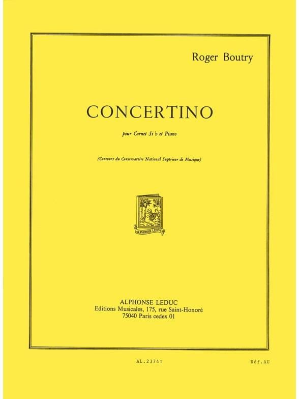 Concertino - Roger Boutry - Partition - Trompette - laflutedepan.com