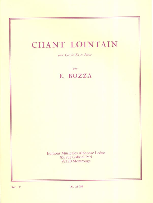 Eugène Bozza - Chant Lointain - Partition - di-arezzo.fr
