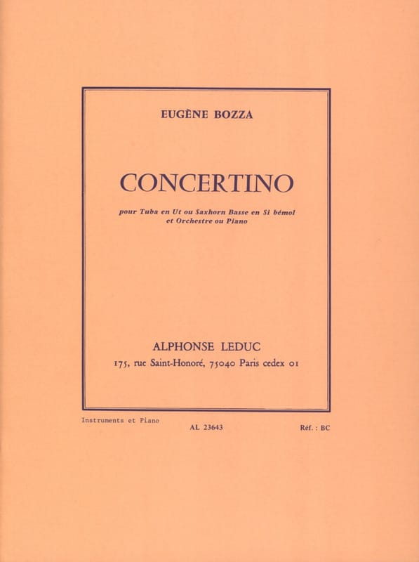 Eugène Bozza - Concertino - Partition - di-arezzo.co.uk