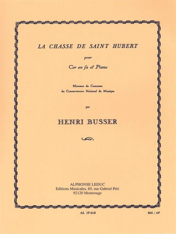 Henri Busser - The Hunt of Saint Hubert - Partition - di-arezzo.com