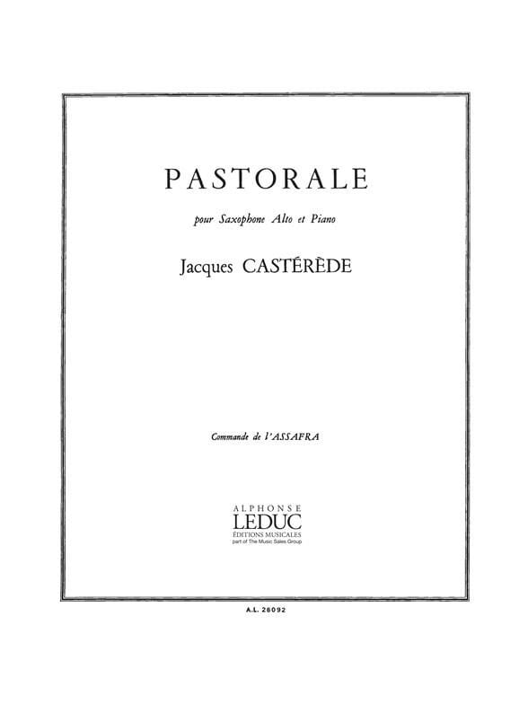 Jacques Castérède - Pastoral - Partition - di-arezzo.co.uk