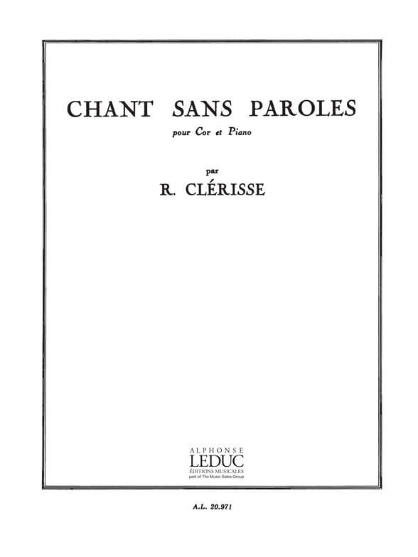 Chant Sans Paroles - Robert Clérisse - Partition - laflutedepan.com