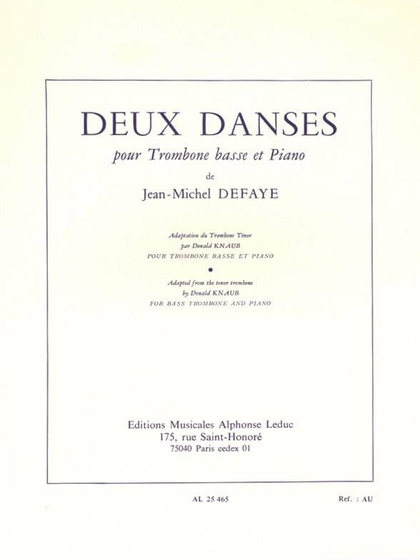 Jean-Michel Defaye - Two Dances - Partition - di-arezzo.com
