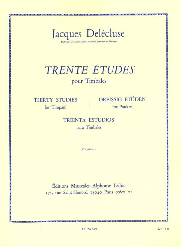 Jacques Delécluse - 30 Studies Volume 3 - Partition - di-arezzo.co.uk