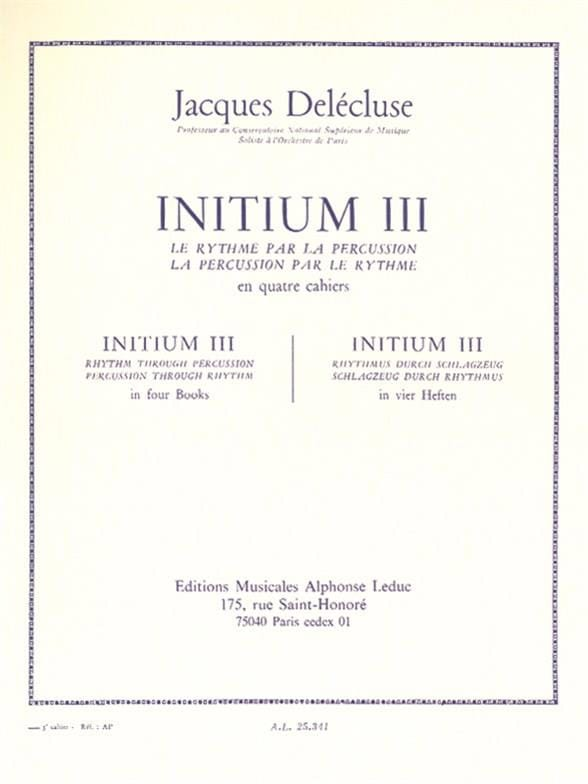 Jacques Delécluse - Initium 3 - Partition - di-arezzo.co.uk
