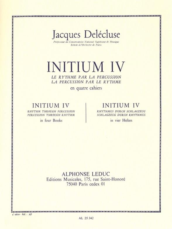 Jacques Delécluse - Initium 4 - Partition - di-arezzo.co.uk