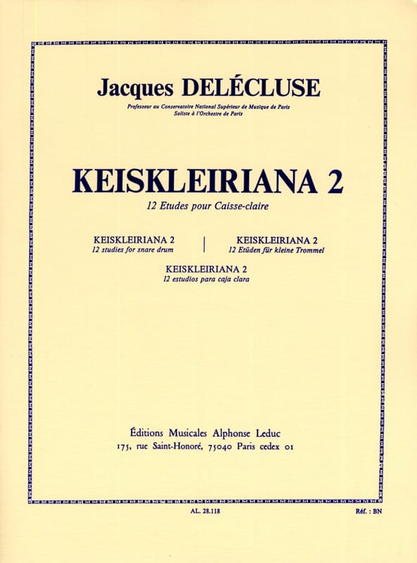Jacques Delécluse - Keiskleiriana Volume 2 - Partition - di-arezzo.co.uk