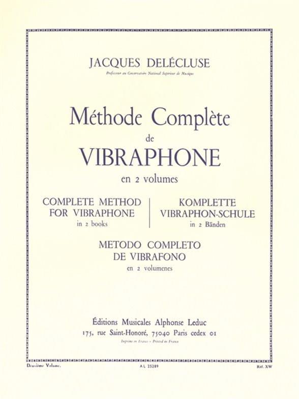 Méthode de Vibraphone Volume 2 - Jacques Delécluse - laflutedepan.com