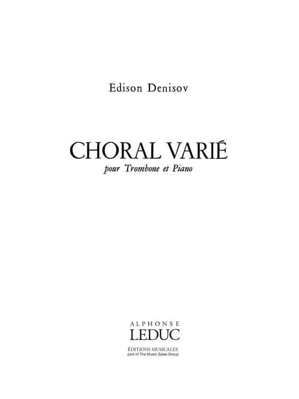 Edison Denisov - Varied Choral - Partition - di-arezzo.com