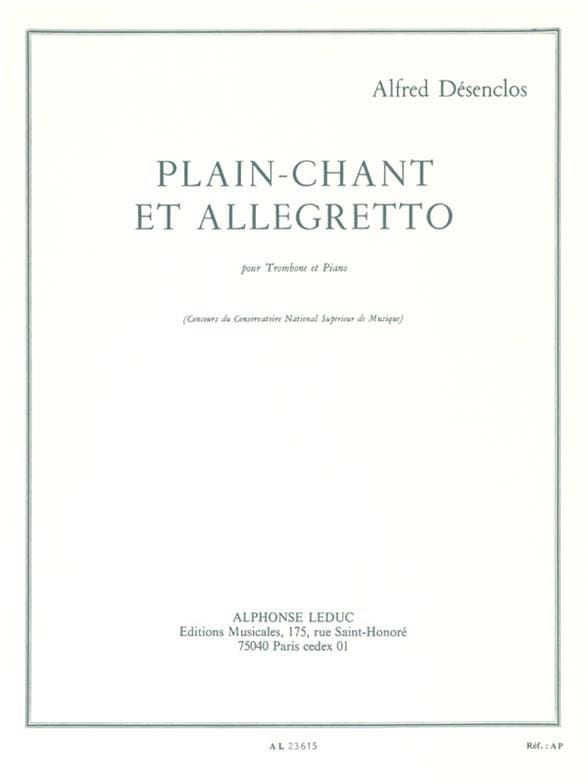 Alfred Désenclos - Plain-Chant et Allegretto - Partition - di-arezzo.fr