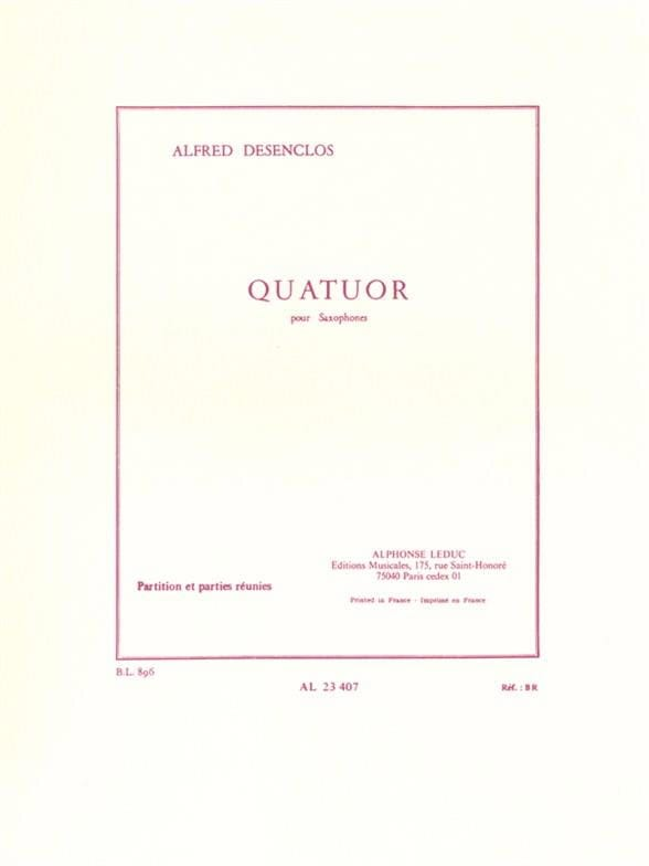 Quatuor - Alfred Desenclos - Partition - Saxophone - laflutedepan.com