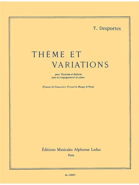 Thème Et Variations - Yvonne Desportes - Partition - laflutedepan.com