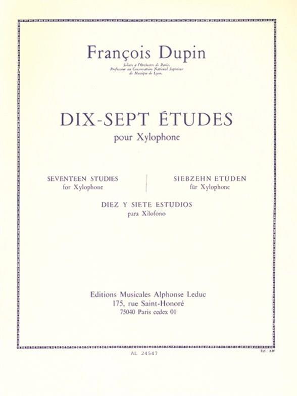 17 Etudes - François Dupin - Partition - Xylophone - laflutedepan.com