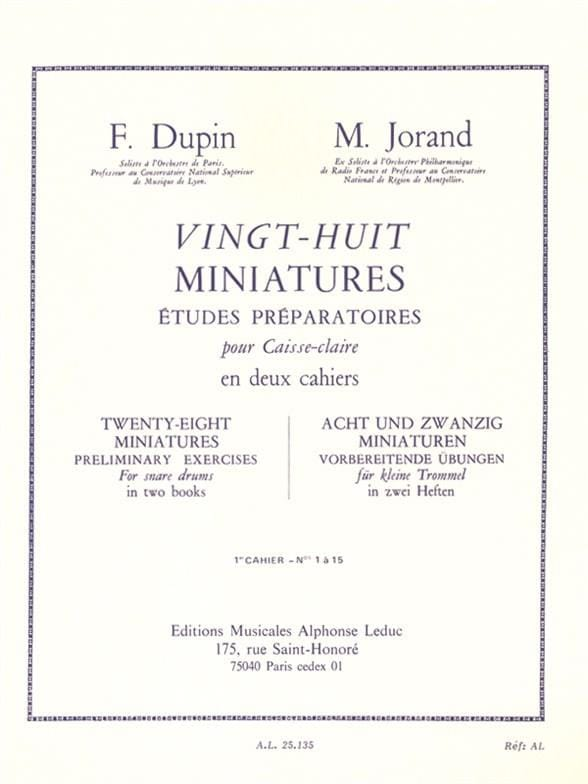Dupin François / Jorand Marcel - 28 Miniatures - Volume 1 - Partition - di-arezzo.co.uk