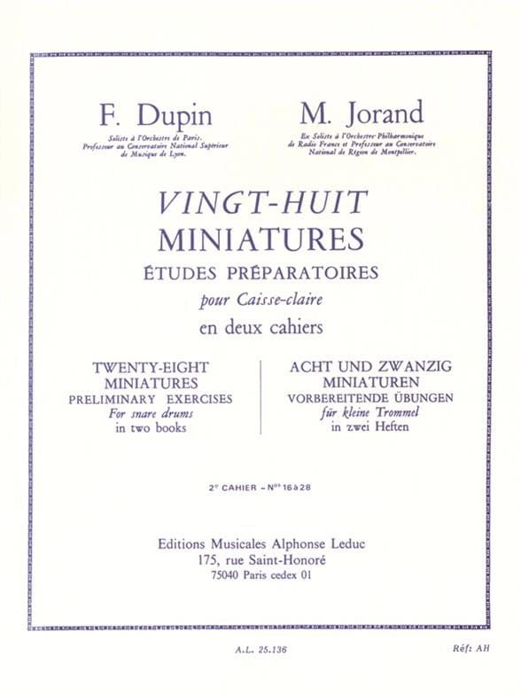Dupin François / Jorand Marcel - 28 Miniatures - Volume 2 - Partition - di-arezzo.co.uk