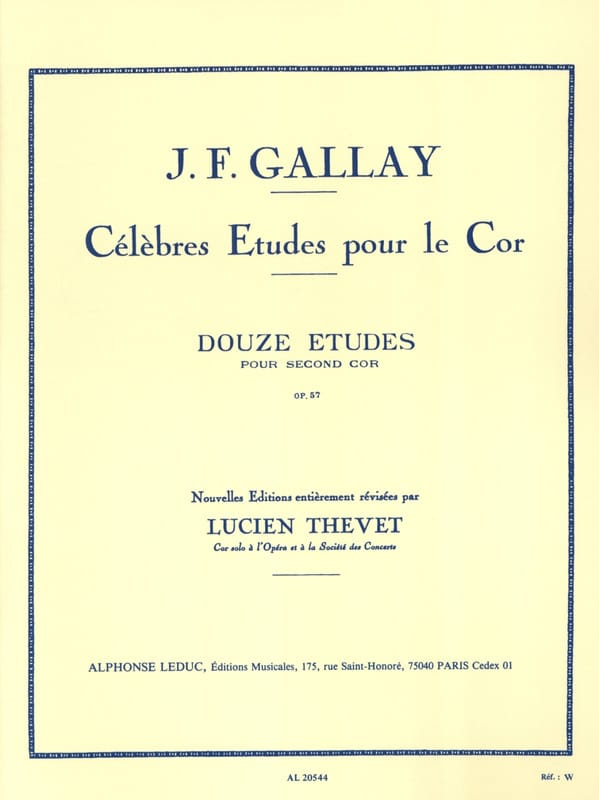 Jacques-François Gallay - 12 Etudes For Second Cor Opus 57 - Partition - di-arezzo.co.uk