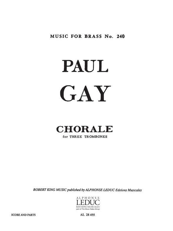 Chorale - Paul Gay - Partition - Trombone - laflutedepan.com