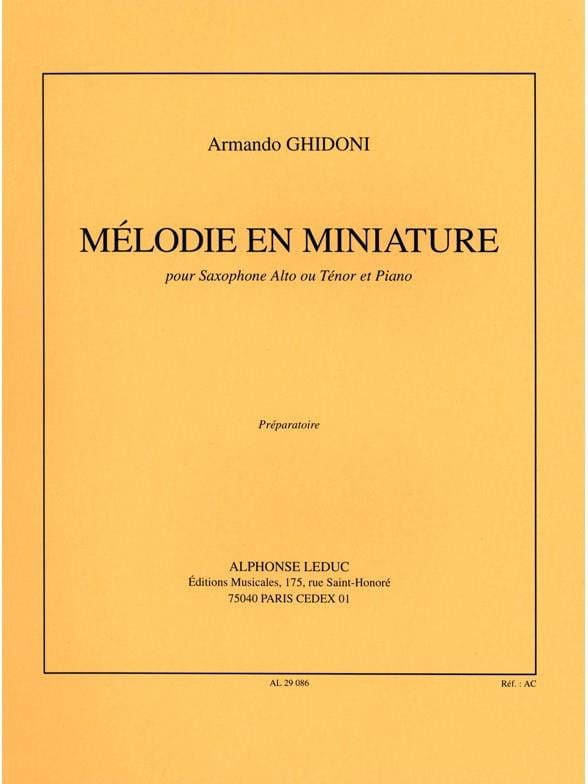 Armando Ghidoni - Melody In Miniature - Partition - di-arezzo.co.uk