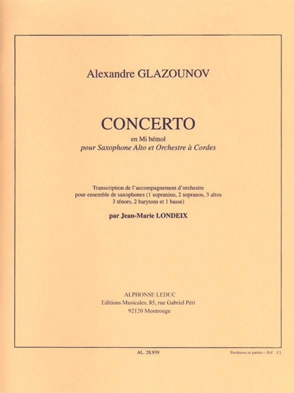 Alexander Glazounov - Concerto In Eb - Partition - di-arezzo.co.uk