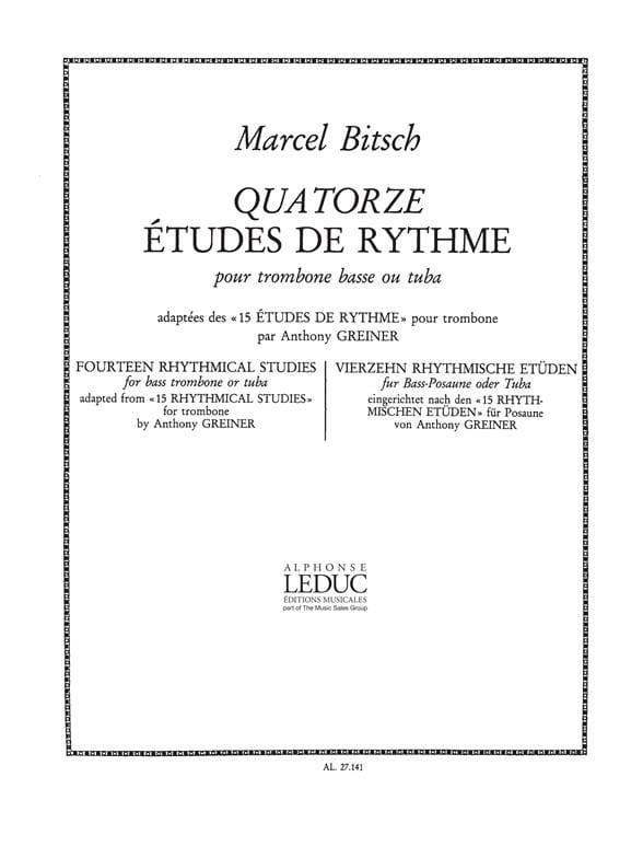 14 Etudes de Rythme - Bitsch / Greiner - Partition - laflutedepan.com