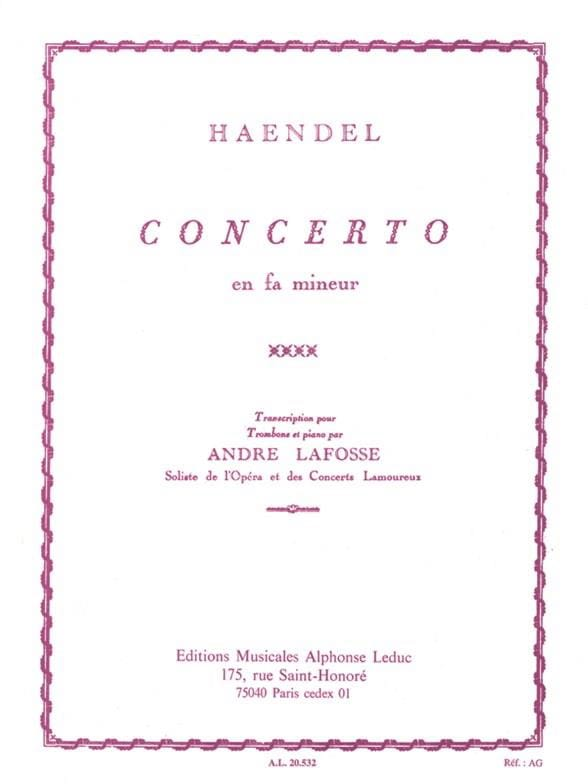 HAENDEL - Concerto In F Minor - Partition - di-arezzo.com