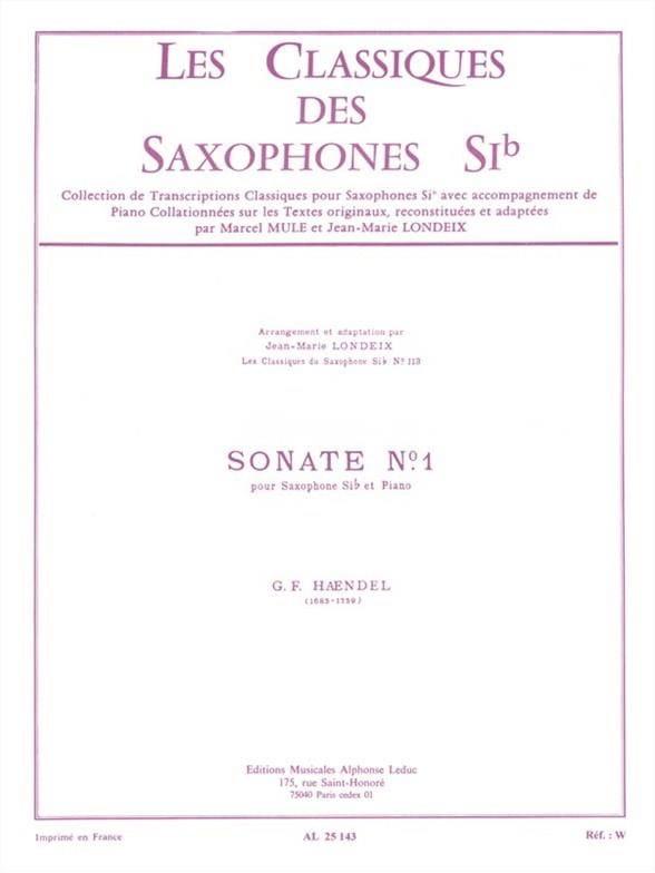 Sonate n° 1 - HAENDEL - Partition - Saxophone - laflutedepan.com
