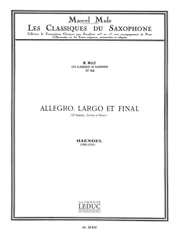 HAENDEL - Allegro, largo and final 3rd sonata violin and piano - Partition - di-arezzo.com