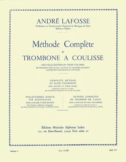 André Lafosse - Slide Trombone Method Volumen 1 - Partition - di-arezzo.es