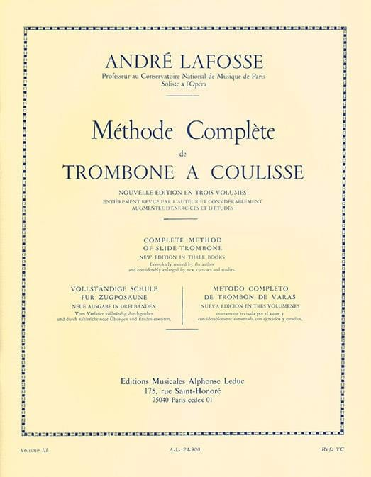 André Lafosse - Slide Trombone Method Volumen 3 - Partition - di-arezzo.es