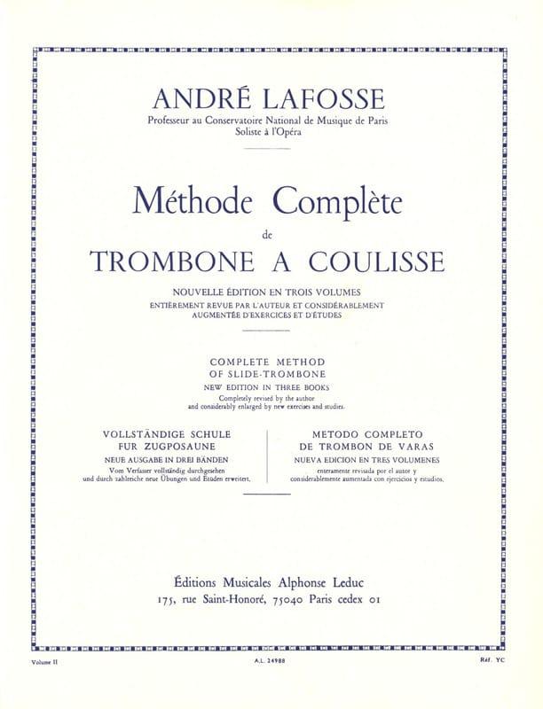 André Lafosse - Slide Trombone Method Volumen 2 - Partition - di-arezzo.es