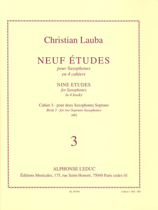 Christian Lauba - 9 Etudes Volume 3 - Partition - di-arezzo.fr