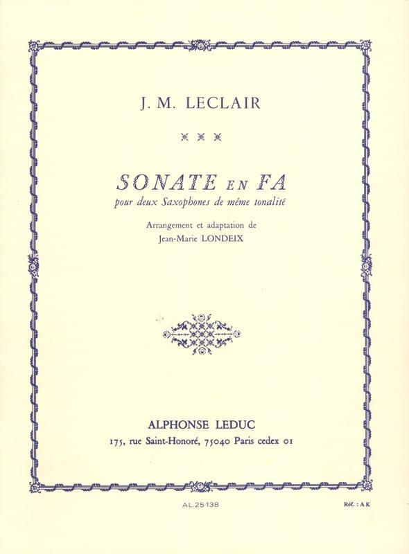 Sonate en Fa - LECLAIR - Partition - Saxophone - laflutedepan.com