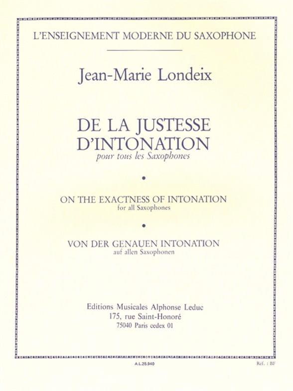 Jean-Marie Londeix - Correctness of intonation - Partition - di-arezzo.com