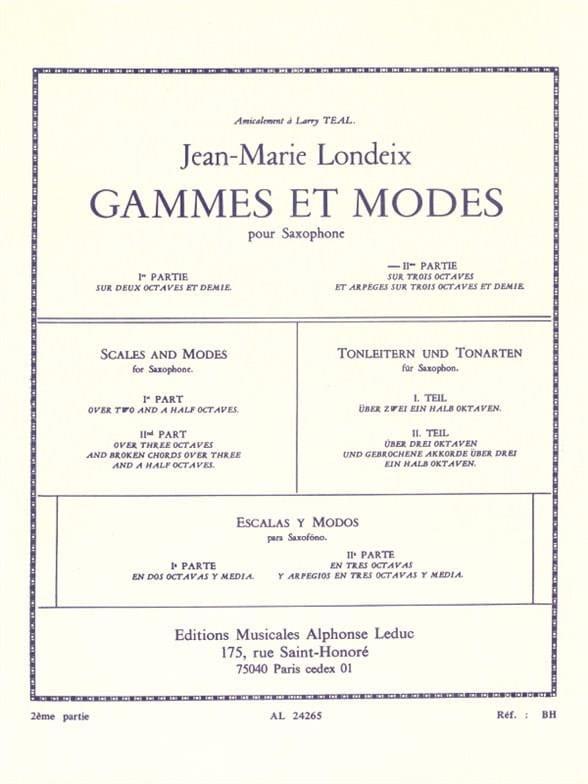 Jean-Marie Londeix - Ranges and Modes Volume 2 - Partition - di-arezzo.com