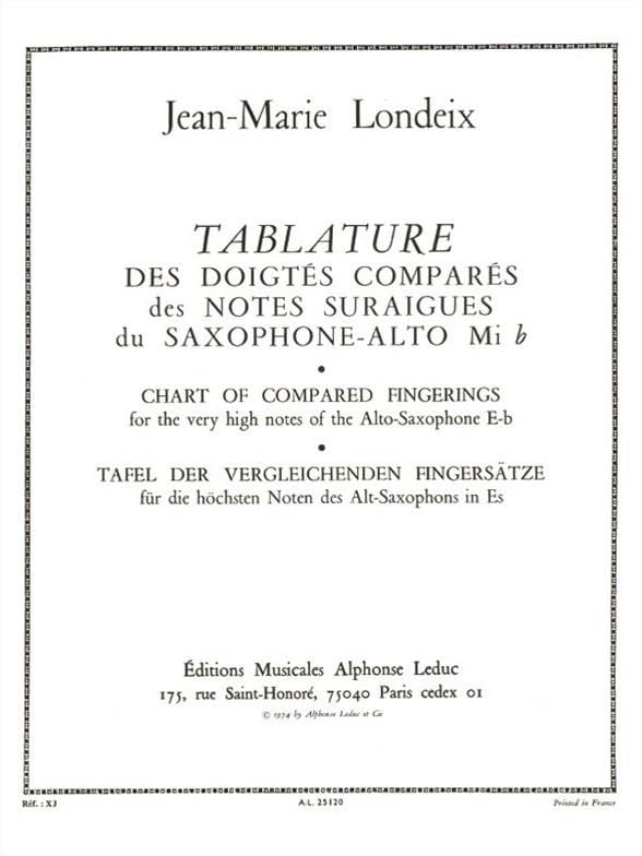Jean-Marie Londeix - Compared Fingering Tablature - Partition - di-arezzo.co.uk