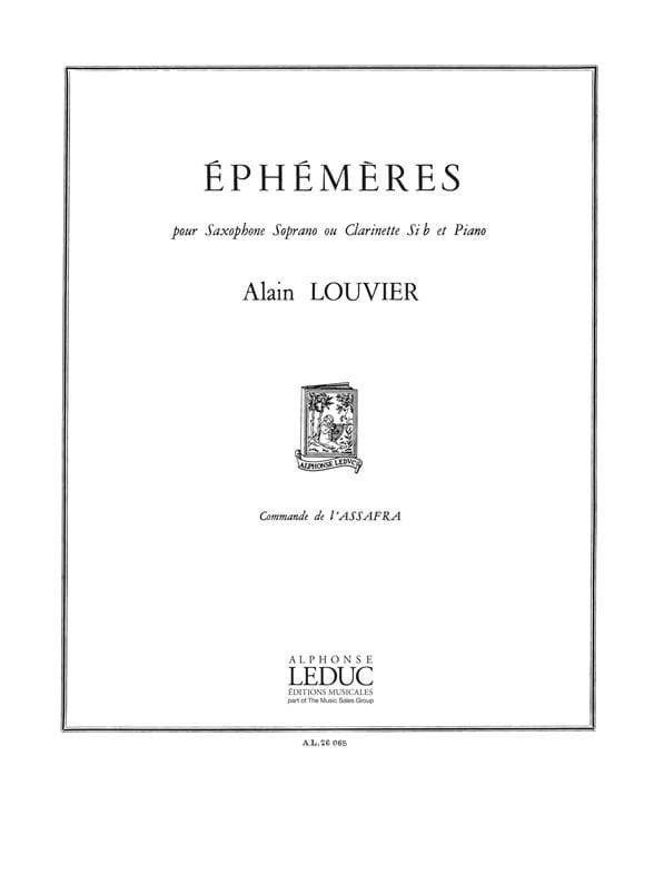 Ephémères - Alain Louvier - Partition - Saxophone - laflutedepan.com