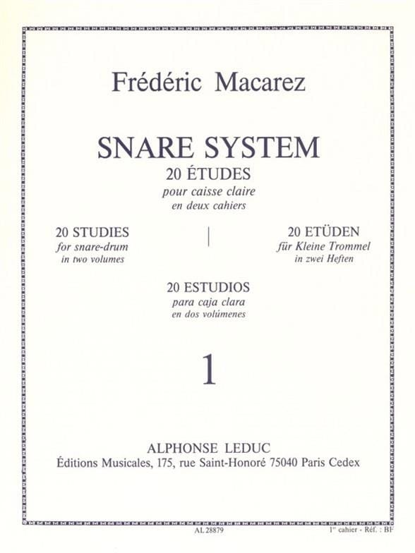 Frédéric Macarez - Snare System Volume 1 - 20 Studies - Partition - di-arezzo.co.uk