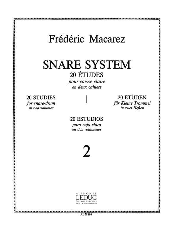 Frédéric Macarez - Snare System Volume 2 - 20 Studies - Partition - di-arezzo.co.uk