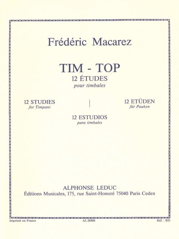 Frédéric Macarez - Tim-Top - 12 Studies - Partition - di-arezzo.co.uk