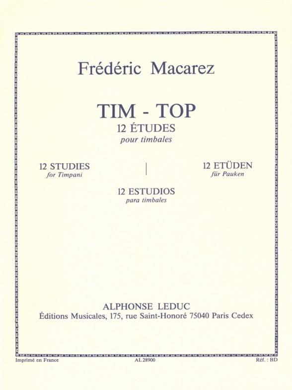 Frédéric Macarez - Tim-Top - 12 Studies - Partition - di-arezzo.com