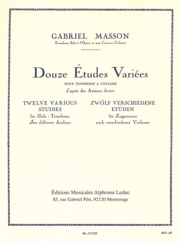 12 Etudes Variées - Gabriel Masson - Partition - laflutedepan.com