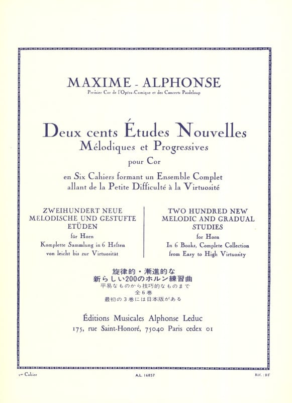 Maxime-Alphonse - 200 Etudes Nouvelles Volume 1 - 70 Very Easy and Easy Studies - Partition - di-arezzo.co.uk