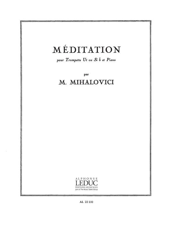 Méditation - Marcel Mihalovici - Partition - laflutedepan.com