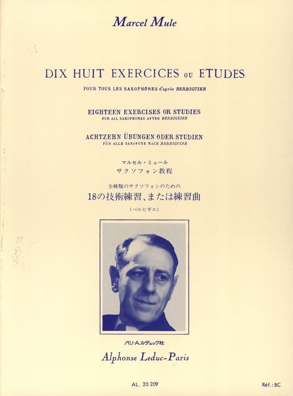 Marcel Mule - 18 Exercises or studies according to Berbiguier - Partition - di-arezzo.co.uk