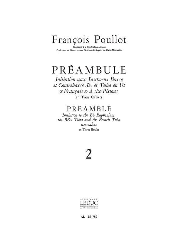 Préambule Volume 2 - François Poullot - Partition - laflutedepan.com